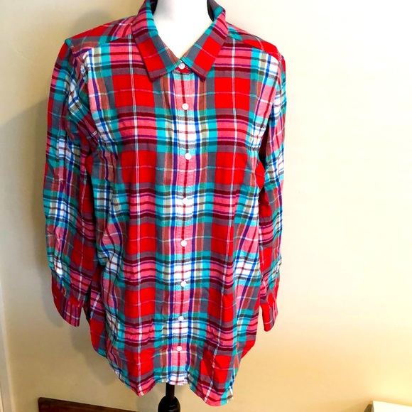 New women's red/green plaid flannel top size 20W